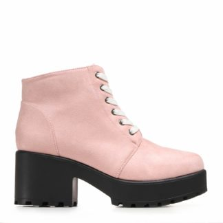 Light Pink Suede Chunky Platform Lace up Ankle Boots