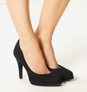 M&S Collection Wide Fit Stiletto Heel Platform Court Shoes