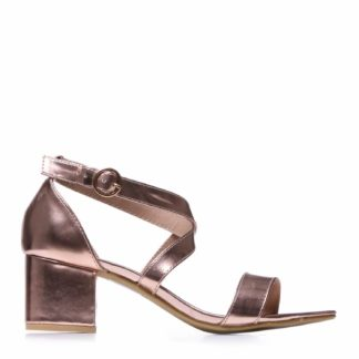 Rose Gold Criss Cross Mid Heel Sandals