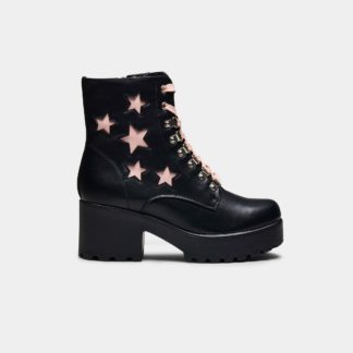 White Lace and Pink Star Detailed Black Chunky Platform Biker Boots